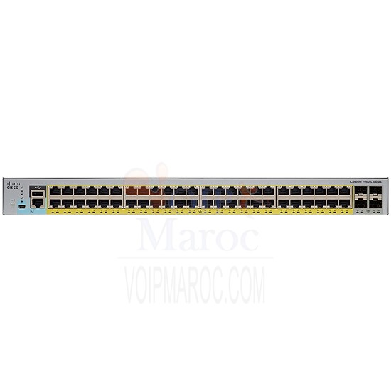 Switch Manageable PoE+ 48 Ports 10/100/1000 Mbps + 4 Ports SFP WS-C2960L-48PS-LL